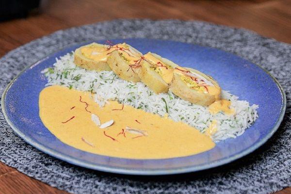 Banarasi Stuffed Dum Aloo served with Coriander rice