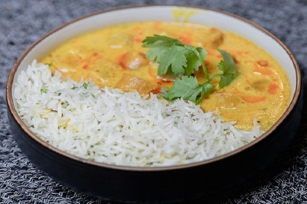 Rajasthani Gatta Curry Served with Jeera Ghee Pulao